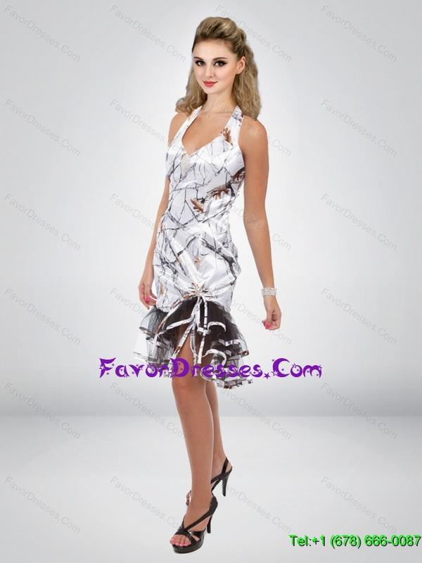 2015 Simple Column Halter Top Tea Length Camo Prom Dress with ...