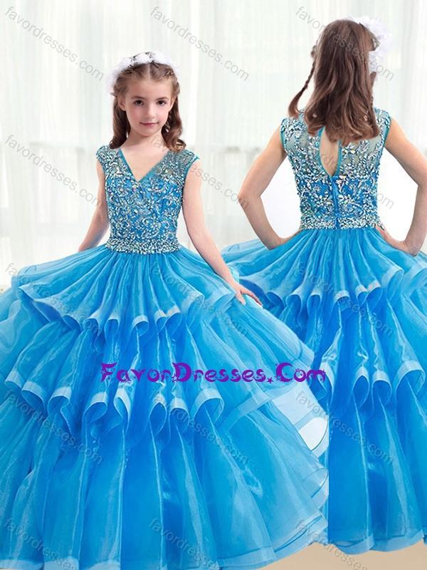 2016 Pretty V Neck Baby Blue Little Girl Pageant Dresses