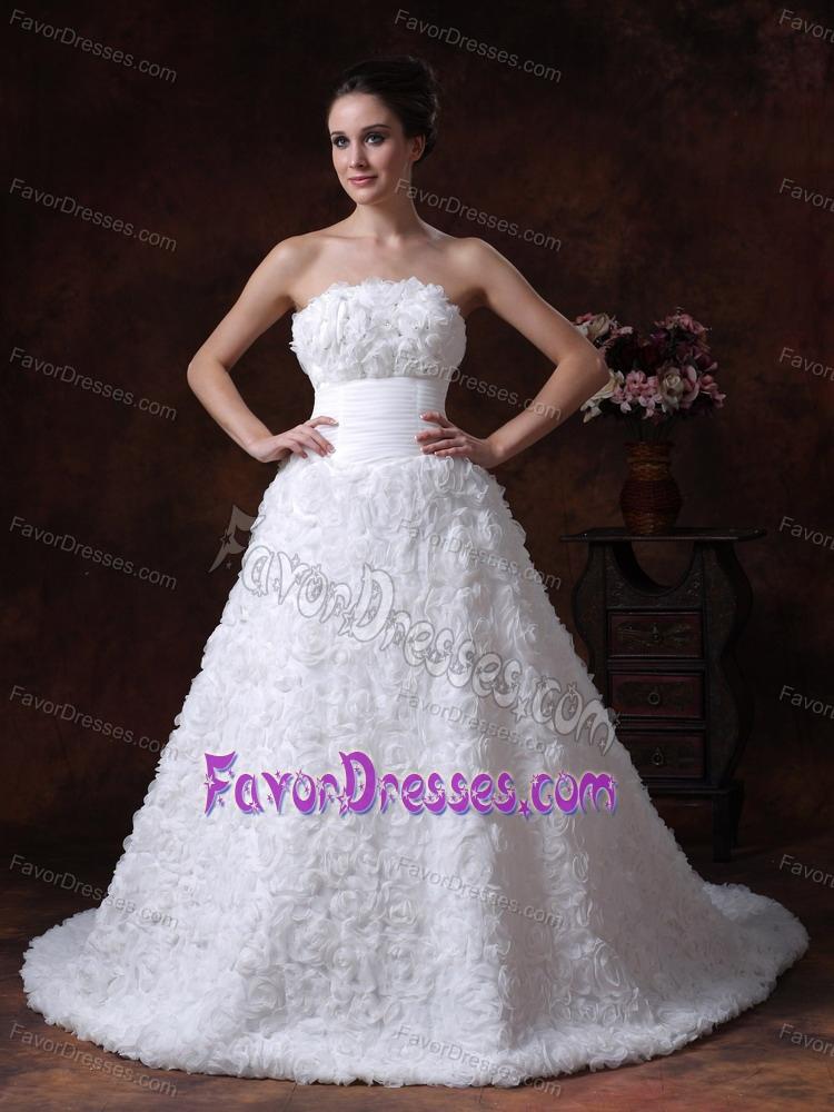 Strapless court train white floral embossed dress for for Dresses for church wedding