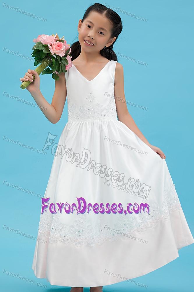 Satin Appliqued Flower Little Girls Formal Dresses To Ankle Length