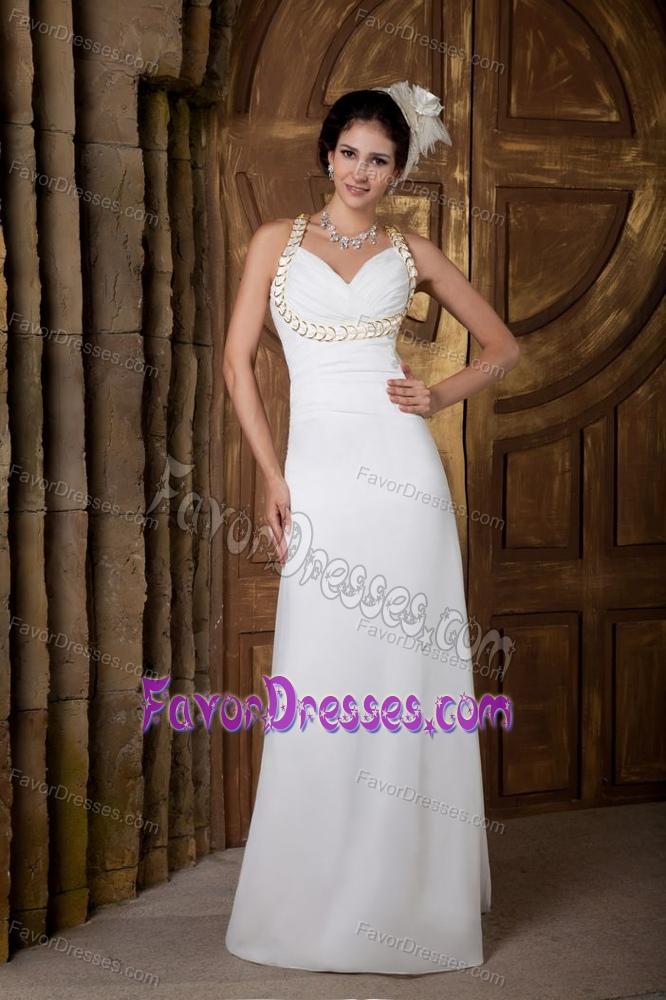 New White Empire V Neck Chiffon Wedding Dress With And Ruching