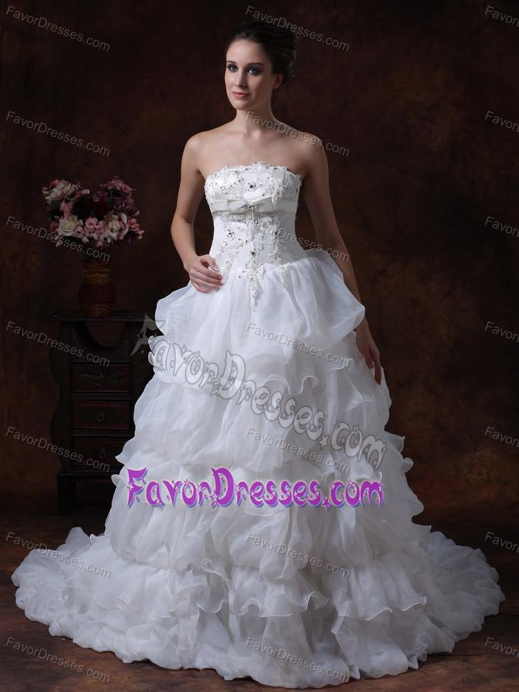 Best princess strapless outdoor wedding dress in organza for Best outdoor wedding dresses