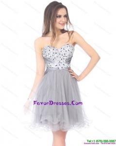 2015 Luxurious Sweetheart Grey Formal Prom Dress with Rhinestones