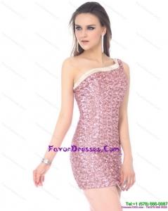 Elegant One Shoulder Sequins Mini Length Formal Prom Dress for 2015