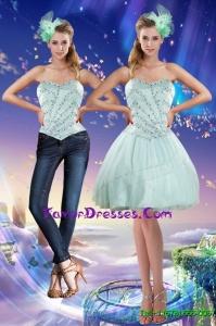Detachable Sweetheart Beading 2015 Prom Dress in Apple Green