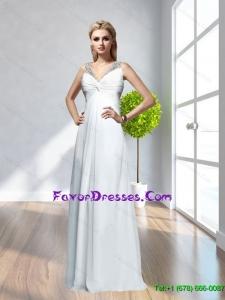 2015 Popular V Neck Beading Criss Cross White Bridesmaid Dresses
