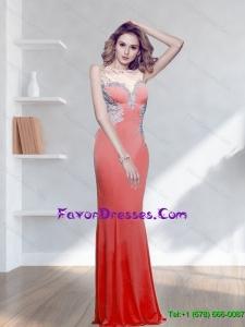 Popular 2015 Appliques Watermelon Bridesmaid Dresses with Bateau