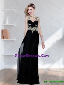 Popular Appliques Bateau Black Bridesmaid Dresses for 2015
