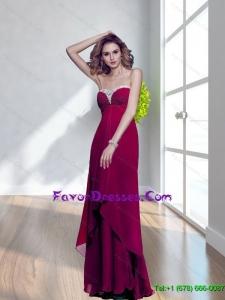 Popular Strapless Beading Long Bridesmaid Dresses for 2015 Spring