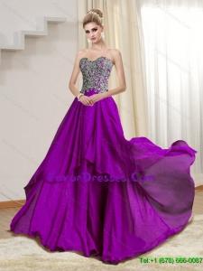 Popular Sweetheart 2015 Appliques Floor Length Bridesmaid Dresses