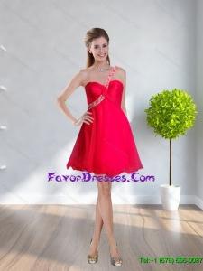 2015 Popular One Shoulder Beading Elegant Bridesmaid Dresses in Coral Red