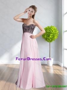 2015 Popular Sweetheart Appliques Floor Length Bridesmaid Dresses in Peach
