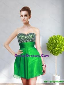 2015 Popular Sweetheart Mini Length Bridesmaid Dresses with Beading