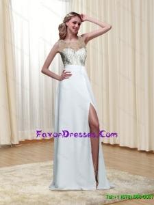 Popular Scoop High Slit White Floor Length Bridesmaid Dresses for 2015