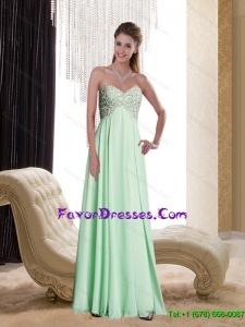 Popular Sweetheart Appliques Chiffon 2015 Bridesmaid Dresses in Apple Green