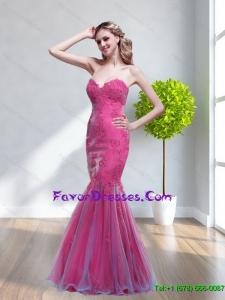 Popular 2015 Mermaid Sweetheart Appliques Bridesmaid Dresses in Hot Pink