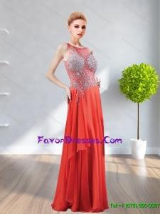 2015 Popular Bateau Beading Chiffon Bridesmaid Dresses in Red