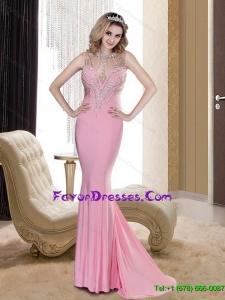 Popular 2015 Mermaid Scoop Backless Rose Pink Bridesmaid Dresses with Beading