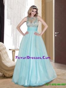 Popular 2015 Column Scoop Tulle Beading Bridesmaid Dresses in Light Blue
