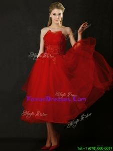 Elegant Tea Length Applique Red Dama Dresses with Asymmetrical Neckline