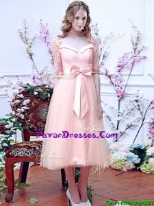 Popular Square Half Sleeves Bowknot Bridesmaid Dress in Baby Pin