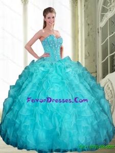 2015 Popular Beading and Ruffles Sweetheart Quinceanera Dresses in Aqua Blue