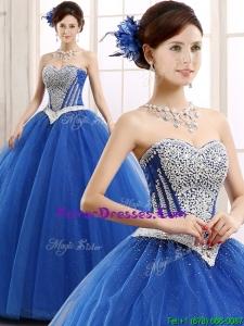 2016 Elegant Beaded Bodice Really Puffy Sweet 16 Dress in Blue