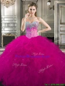 2016 Pretty Beaded and Ruffled Tulle Sweet 16 Dress in Fuchsia