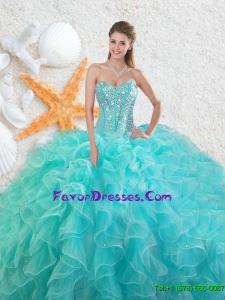Elegant Beading Sweetheart 2016 Quinceanera Dresses in Aqua Blue