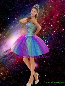 2016 Elegant Beaded Sweetheart Multi Color Prom Dresses with Mini Length