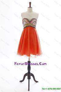 The Brand New Beading Orange Red Short Prom Dress for 2016