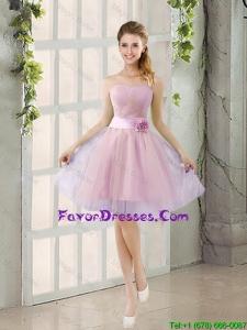 Custom Made A Line Strapless Bridesmaid Dresses with Hand Made