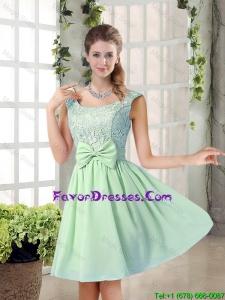 Elegant A Line Straps Lace Bridesmaid Dresses with Bowknot