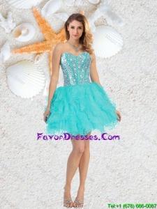 Cheap Sweetheart Beaded and Ruffles Prom Dresses in Aqua Blue