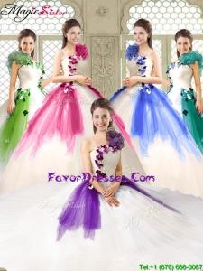 2016 Elegant Appliques and Ruffles Quinceanera Dresses