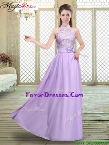 2016 Sweet High Neck Lace Lavender Bridesmaid Dresses