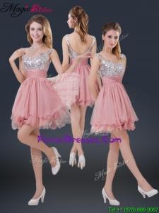 Hot Sale Mini-length Straps Paillette Bridesmaid Dresses for 2016