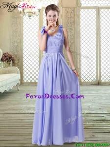 Romantic Empire Straps Bridesmaid Dresses in Lavender