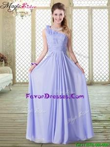 2016 Popular Empire One Shoulder Bridesmaid Dresses in Lavender