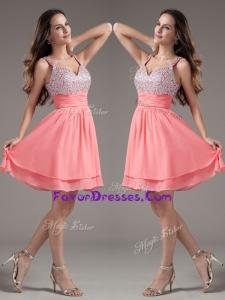 2016 Elegant Straps Beading Short Watermelon Prom Dresses