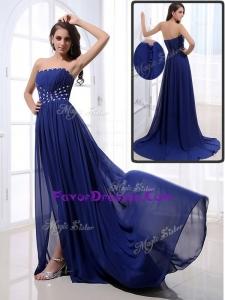 2016 Elegant Brush Train Strapless Beading Plus Size Prom Dresses in Royal Blue