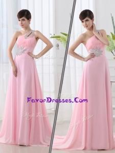 2016 Fashionable One Shoulder Brush Train Beading Baby Pink Plus Size Prom Dress