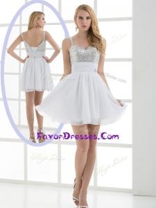 2016 Fashionable Straps Sequins Short Plus Size Prom Dress for Graduation