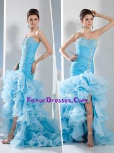2016 High Low Mermaid Sweetheart Ruffled Layers Prom Dress in Aqua Blue