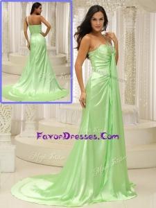 2016 Elegant Column One Shoulder Beading Sweet Prom Dresses with Brush Train