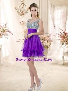 2016 Best Straps Short Purple Bridesmaid Dresses with Sequins