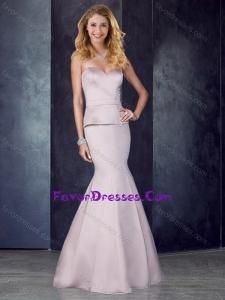 2016 Mermaid Sweetheart Satin Lavender Bridesmaid Dress with Brush Train