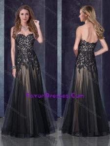 2016 Top Selling Empire Applique Black Bridesmaid Dress in Tulle