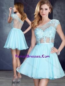 Cheap See Through One Shoulder Applique Bridesmaid Dress in Aqua Blue