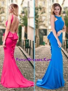 Column Ruffled Blue Backless Bridesmaid Dress with Brush Train
